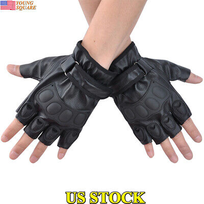 Mens Leather Fingerless Riding Driving Motorcycle Gloves Half Finger Mittens