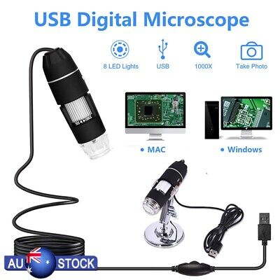 1000X Zoom 8 LED USB Microscope Digital Magnifier Endoscope Camera Video Stand