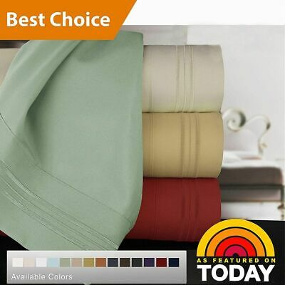 1800TC Ultra Soft Flat & Fitted Sheet Set/4Pcs Single/Double/Queen/King Size Bed