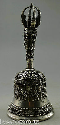 Collectible Tibet Buddhism Old Handwork Miao Silver Carved Buddha Exorcism Bell