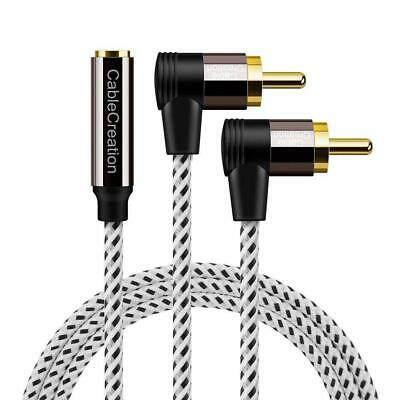 3.5mm to RCA Cable,CableCreation 10ft 3.5mm Female to Angle 2RCA Male Stereo Aud