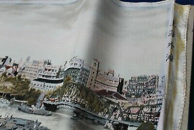 LARGE Fine Vintage Chinese Silk Embroidery Panorama of Shanghai - Signed Edges