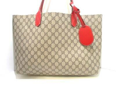 61fca7e4fe8 Auth GUCCI Reversible GG Leather Medium Tote 368568 Beige Brown Red Tote Bag