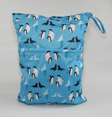 Large Cloth Mama Wet Bag for Nappies, Wipes, Cloth Sanitary Pads, CSP - Penguins