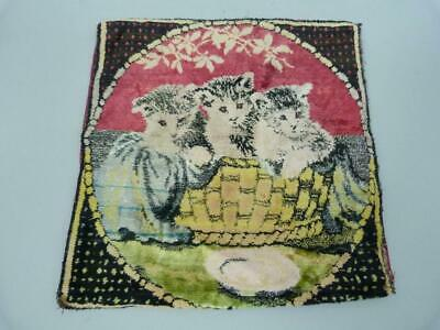 Vintage 1920s cat / kittens cushion cover in velvet plush 16 x 16 inches