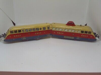 French Hornby O Gauge 3 Rail Electric 2-Car SNCF Autorail Car Boxed