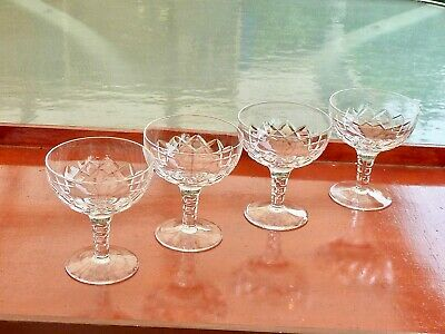 Fabulous Vintage Hand Crafted Crystal Stuart Carlingford Champagne Glasses Set 4