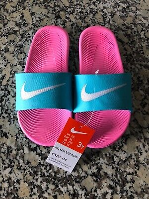 9e1023f1dbc6c New! Nike Girls Kawa Gamma Blue Pink Blast Slide Sandals (GS PS
