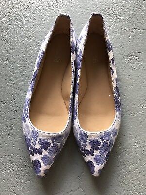 Michael Kors Blue And White Floral Canvas Flats Shoes Size 36