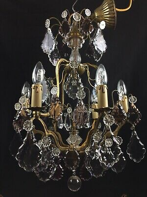 Substantial Large Heavy Antique French Crystal 6 Light Bronze Chandelier Light