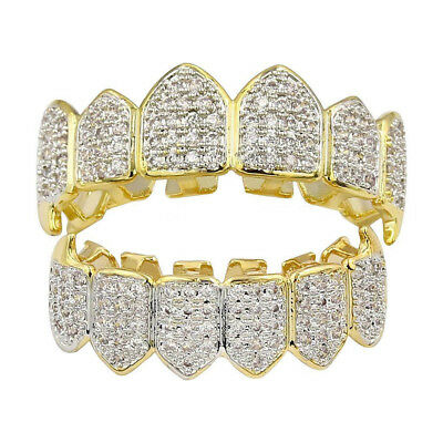 18K Gold Plated Top Bottom GRILLZ Mouth Teeth Grills Set Bling Diamond Unisex