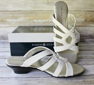 85d0c83cbbc8b2 New KAREN SCOTT Women s EMET 8.5 WHITE Sandals Open Toe Slides Shoes BOXED