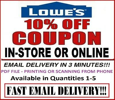 Lowes 10% Printable Discount 1Coupons - Online or InStore - Fast Instant Email