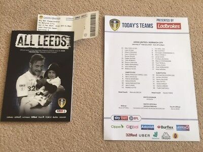 Leeds United V Norwich City Championship With Teamsheet & Ticket 2018-19