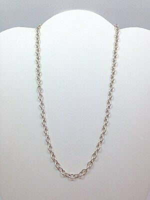 Modern Thin 5.5mm Oval Rolo Link Chain Necklace 18 In Sterling Silver 925 FMG...