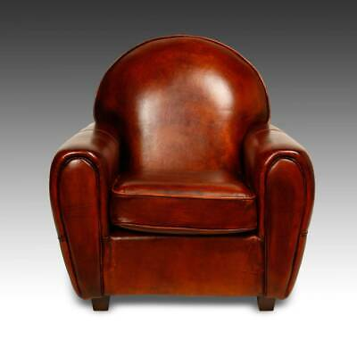Art Deco Style Lounge Chair Sheep Leather Hardwood Frame Holland Contemporary