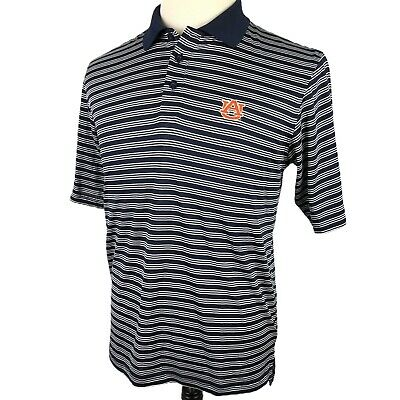 3cf7c3428 Under Armour Golf Polo Shirt Small Auburn University Navy White Striped  Tigers