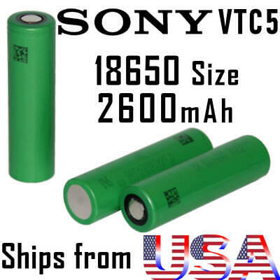 Sony VTC5 18650 2600mAh 20A Rechargeable Lithium Ion Battery Cell Vape Mod IMR