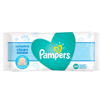 64 Count Pampers Baby Wipes, Complete Clean, Baby Fresh Scented, Diapering