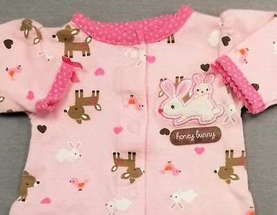 Child Of Mine By Carter's Preemie Baby Girl Pink Honey Bunny Footed Outfit