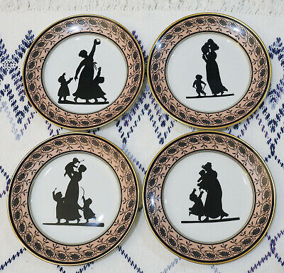 Four Mottahedeh Angerstein Family Silhouette Plates - Art Institute of Chicago