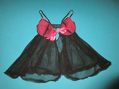VICTORIA SECRET VERY SEXY THINGS Womens Black Pink Open Front Lingerie Size 36C