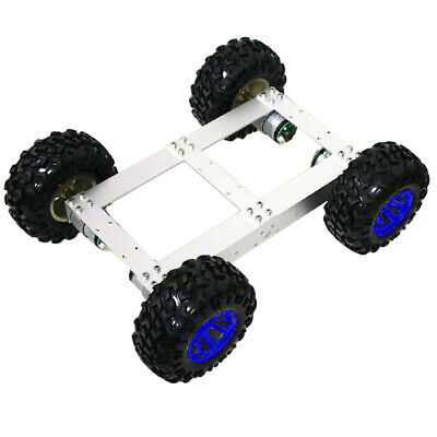 4WD Smart Car Tank Chassis Kit DIY Robot with 12V 100rpm Motor Blue Wheel