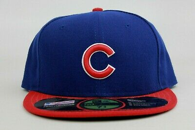 ac3725d4bfd Chicago Cubs Blue Red White On Field MLB New Era 59Fifty Fitted Hat Cap  Official