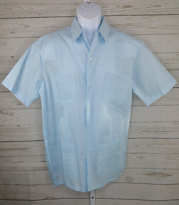 88c6115ee5 Gentlemens Collection Mens Short Sleeve Linen Look Guayabera Shirt Size  Large