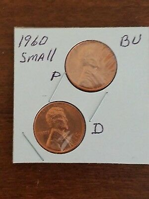 1960 ~P&D~   SMALL~ DATE  UnCirc. (BU) LINCOLN CENT ~VARIETY~ SET IN 2X2