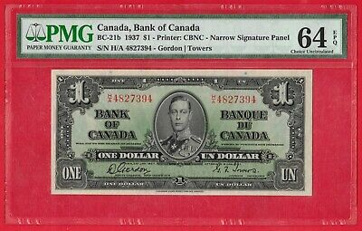 1937 $1 Bank of Canada Note Gordon-Towers H/A Narrow BC-21b - PMG UNC 64EPQ