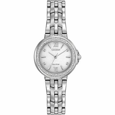 Citizen Eco-Drive Women's EM0440-57A Diamond Accent Stainless Steel 28mm Watch