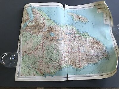 Map 1920 The Times Atlas Central and Southern Africa coloured large 58 x 44.5
