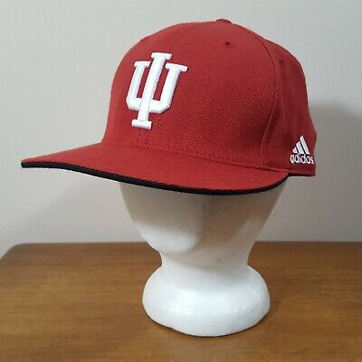 best service 30ab2 b1176 ADIDAS Indiana University IU Hoosiers Red Embroidered Wool Fitted Ball Cap  Hat