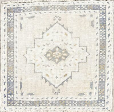 Muted Color Geometric Oushak Turkish Hand-Knotted 2'x2' Square Beige Wool Rug