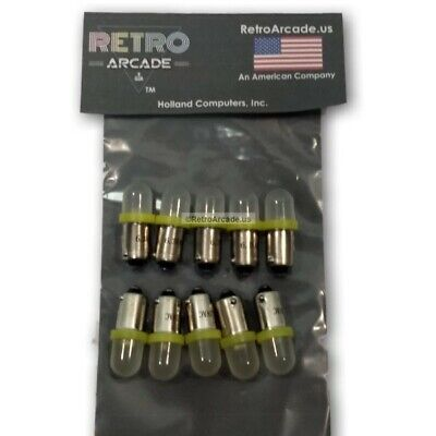 10 Pack Yellow Frosted Pinball 6.3 Volt LED Round Bulb 44/47 Bayonet Base BA9S