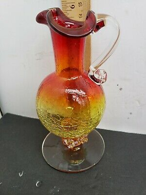 Vintage Mid Century Ruby Amberina Crackle Glass Pitcher