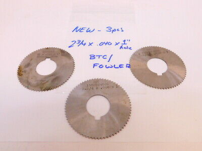 """New 3pcs. HSS Straight Tooth Slitting Saws Cutters 2-3/4"""" x .040"""" x 1"""" Hole"""