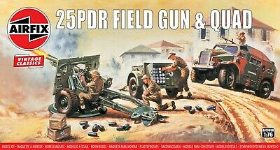 """New Airfix 1:76th Scale """"Vintage Classics"""" 25PDR Field Gun and Quad"""