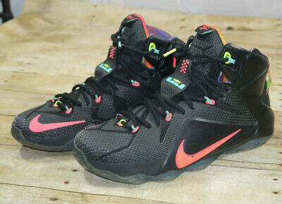 "buy popular 40b83 18288 NIKE LEBRON JAMES 12 XII ""Data"" 684593-068 Black/Mango/Hyper Punch Mens  Size 10"