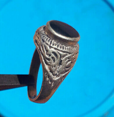 LOW OUTBID !! ancient antique silver solid legionary ring metal artifact amazing