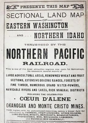 1893__Eastern_Washington_&_Northern_Idaho Nprr_Railroad_Land_Sale Sectional__Map