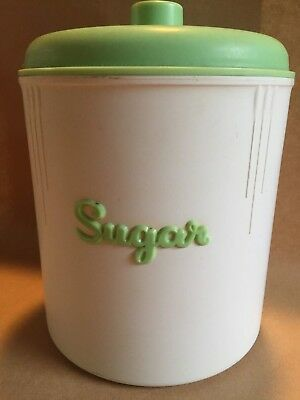 Vintage 1940s Eon Bakelite kitchen sugar canister white with green lid