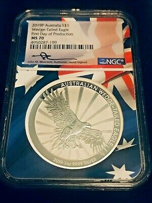 2019P Australia S$1 Wedge-Tailed Eagle First Day of Production NGC MS70 Mercanti