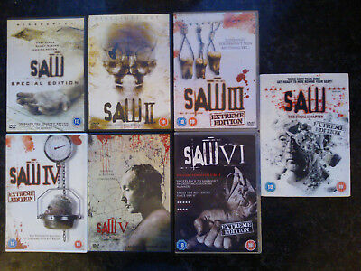 SAW 1-7 COMPLETE Lot Collection 1 2 3 4 5 6 Final Chapter Gory Horror  Jigsaw R2