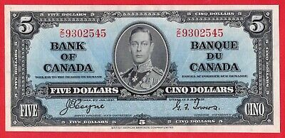 ✪ 1937 $5 Bank of Canada Note Coyne-Towers Z/C Prefix - AU Cleaned