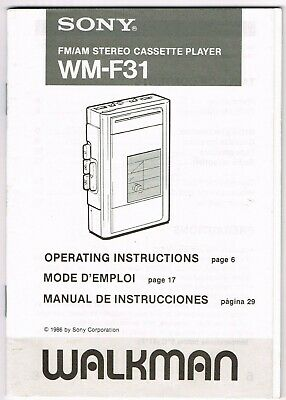 1986 Sony Walkman Wm-F31 Fm/am Cassette Player Operating Instructions