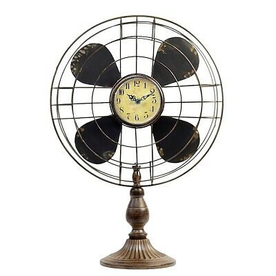 Old Fashion Vintage Retro Industrial Style Table Fan Clock Rustic Home Decor New