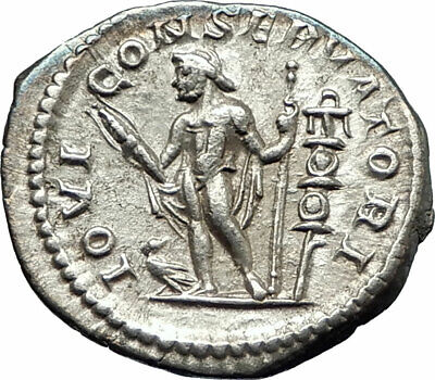 ELAGABALUS 219AD Rome  Ancient Silver Roman Coin Nude Jupiter Zeus i76521