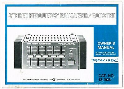 Vintage Realistic Stereo Frequency Equalizer/booster Owner's Manual